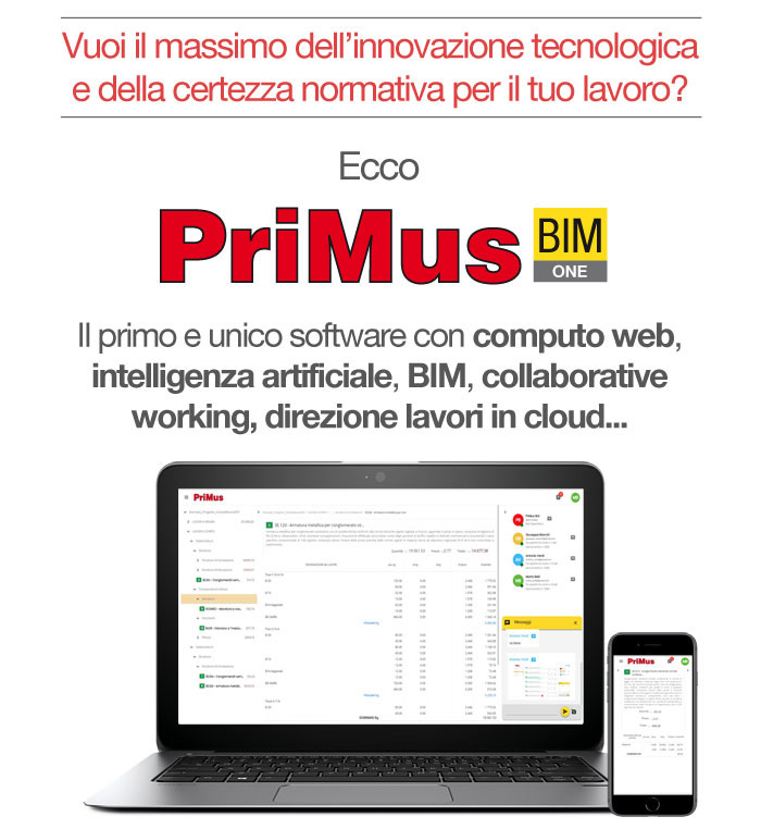 PriMus: il primo e unico software con computo web, intelligenza artificiale, BIM, collaborative working, direzione lavori in cloud