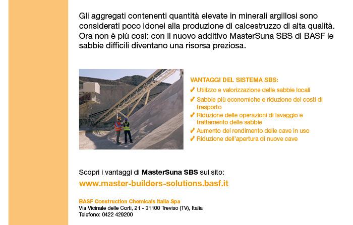 Ottimizza l'utilizzo di sabbie di cava caratterizzate da tenori elevati di argilla con MasterSuna SBS. Scopri i vantaggi sul sito