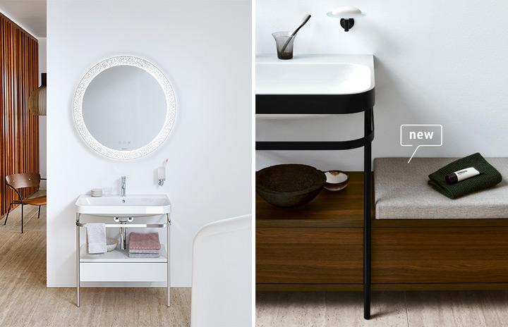 Sostegni metallici a pavimento con portasciugamani integrato e una seduta laterale