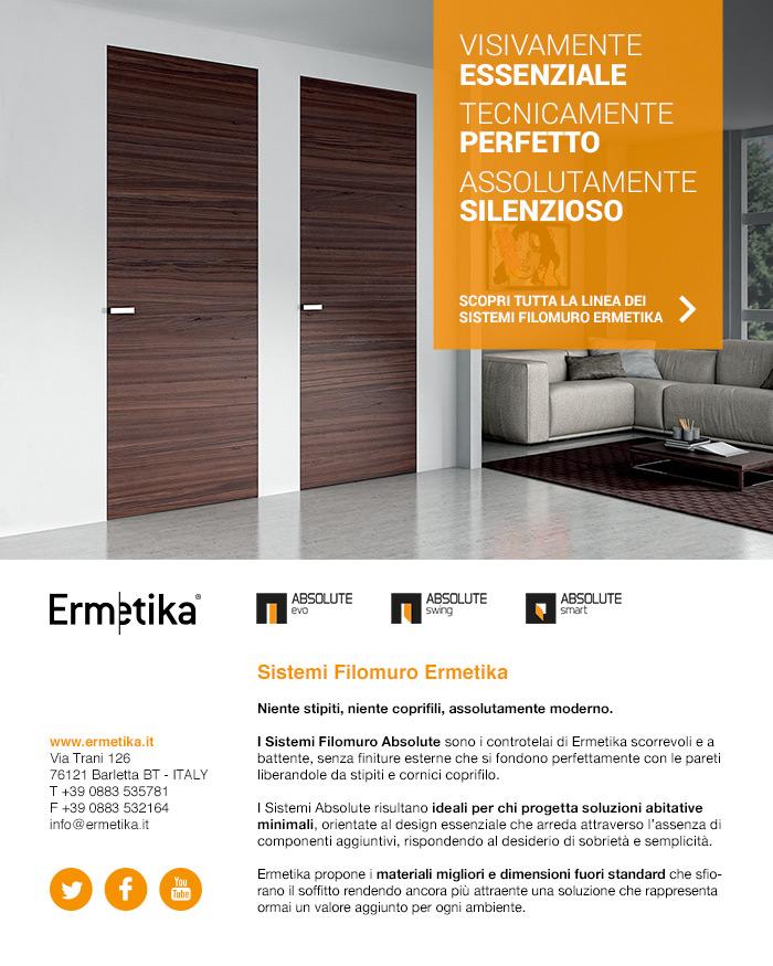 Design essenziale e moderno: i sistemi filomuro Ermetika