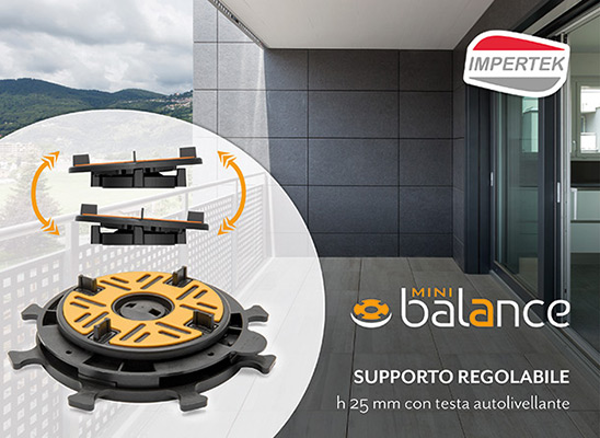 SUPPORTO MINIBALANCE, regolabile e autolivellante h 25 mm