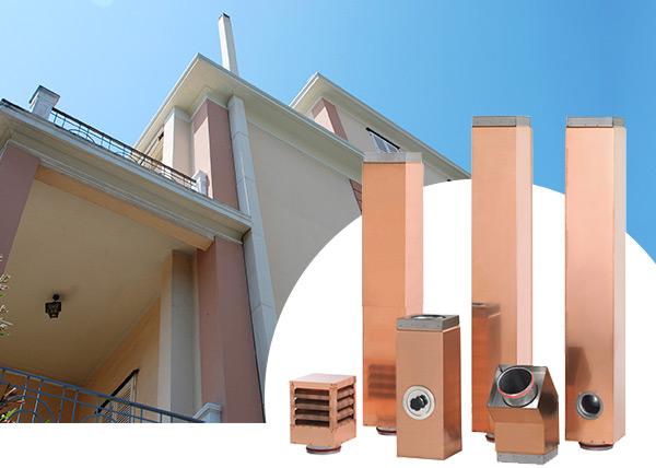 L'unico sistema di canne fumarie metalliche coibentate ad esterno quadro verniciabili brevettato