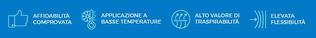 Affidabilità comprovata, applicazione a basse temperature, alto valore di traspirabilità ed elevata flessibilità