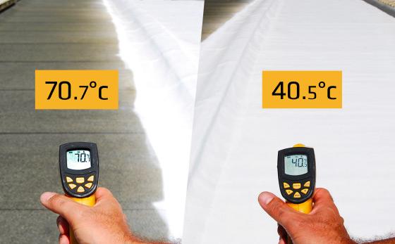 Grazie alla straordinaria tecnologia della nuova membrana liquida bianca Siklastic 530 Reflex, la tua casa o il tuo edifico rimangono al fresco grazie alla sua straordinaria riflettanza solare!