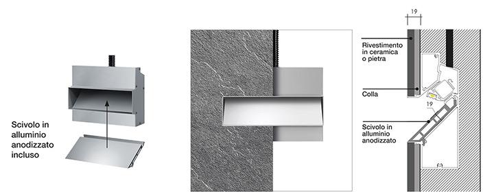 Ghost di Simes - Scivolo in alluminio anodizzato su parete in muratura