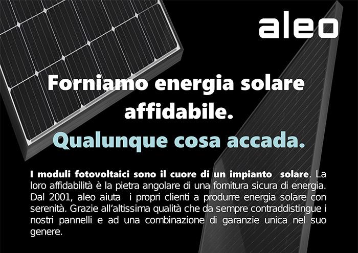 aleo. Forniamo energia solare affidabile. Qualunque cosa accada.