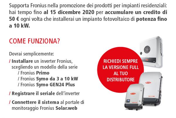 50 euro per ogni inverter Fronius registrato e connesso