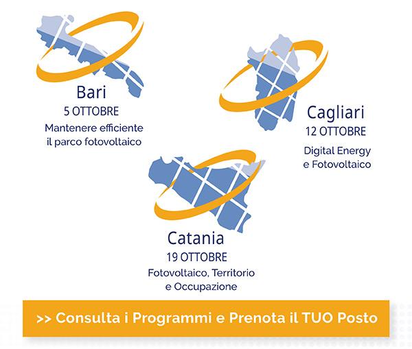 Bari 5 Ottobre, Cagliari 12 Ottobre, Catania 19 Ottobre. Consulta i programmi e prenota il TUO posto