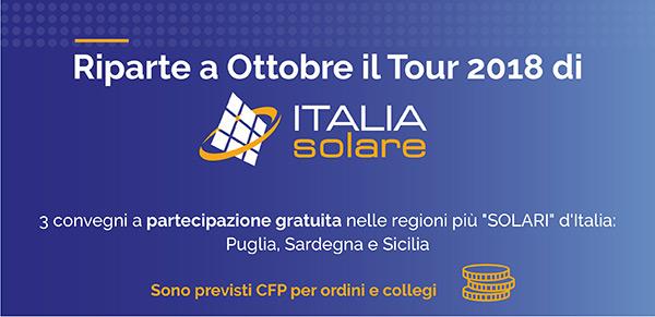 Riparte a Ottobre il Tour 2018 di Italia Solare
