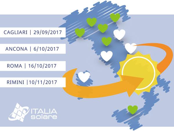Cagliari 29/09/2017 - Ancona 6/10/2017 - Roma 16/10/2017 - Rimini 10/11/2017