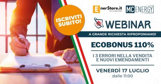 Webinar: Ecobonus 110%. 3 ERRORI nella Vendita e nuovi Emendamenti