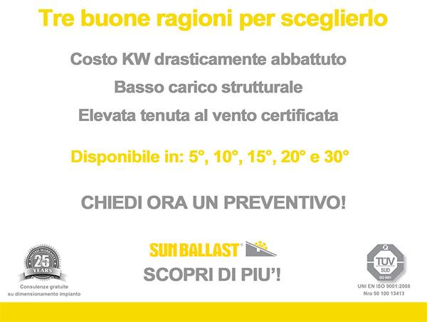 Tre buone ragioni per sceglierlo: costo KW drasticamente abbattuto, basso carico strutturale ed elevata tenuta al vento certificata