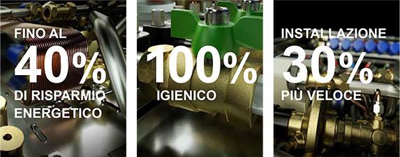 Fino al 40% di risparmio energetico. 100% igienico. Installazione 30% più veloce.